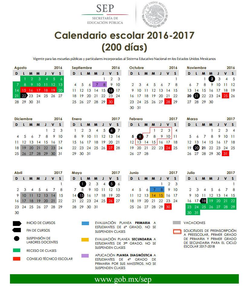 Calendario SEP 2016-2017 200 días
