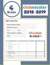 Examen Bloque 1 Cuarto grado 2018-2019
