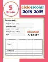 Examen Bloque 1 Quinto grado 2018-2019